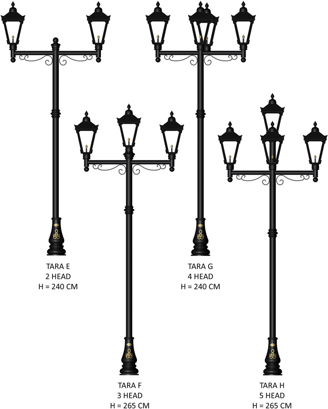 Multiple head lamppost multi head garden lighting multi head tara lighting range audiocablefo Light database